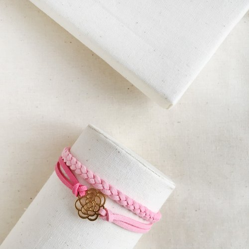 Handmade Double Braided Rose Bracelet Rose Gold Series – romantic pink