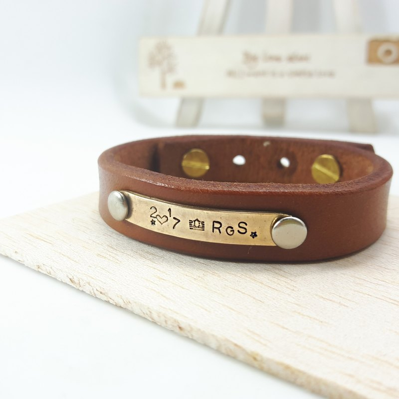 A11 - pure copper leather bracelet (light coffee) - customizable typing - manual DIY