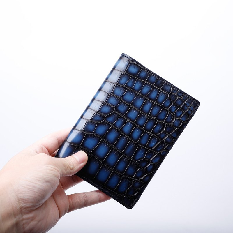 Blue Nile crocodile leather handmade Patina dyeing casual men and women passport holder multi-function card package