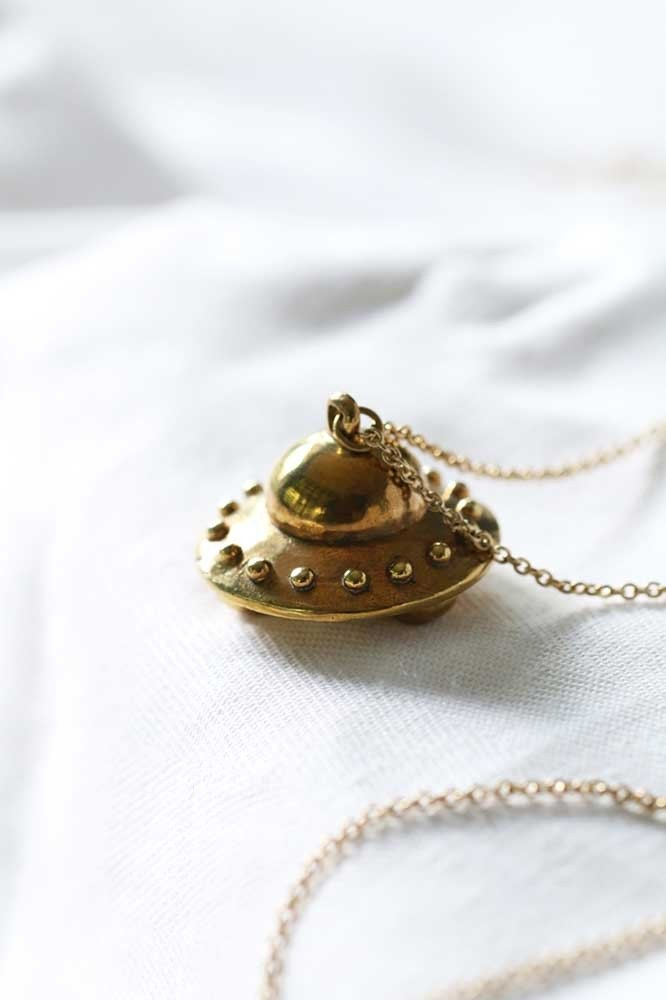 UFO Necklace / Linen Jewelry / Brass Necklace / Charm Necklace / Everyday Jewelry.