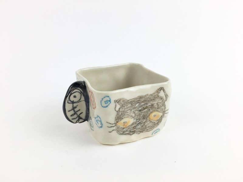Nice Little Clay Hand Small Square Cup _ Little Gray Cat 11