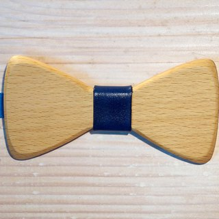 Natural wood bow tie - beech wood + blue leather (gift/wedding/new/formal occasions)
