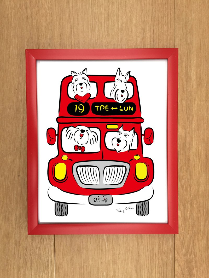 Q Family Mao Boy Double Bus Front - 10 吋 Photo Frame - Red