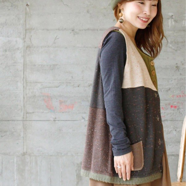 ☆ Palette ☆ 彡 palette autumn color patchwork vest