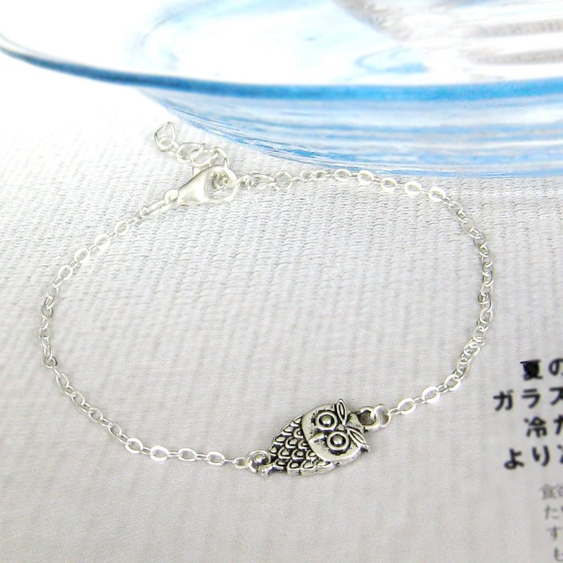 Cute little owl silver bracelet