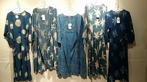 Japan set up, India made woodcut blue dye moon cloud cotton long dress