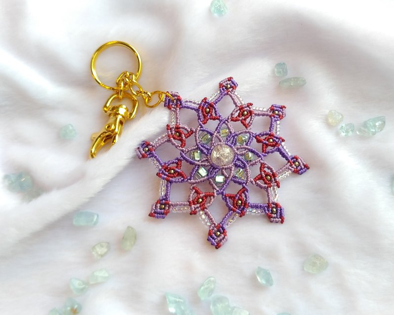 K008-Hand-woven beaded key ring hand-painted wind mandala purple wreath