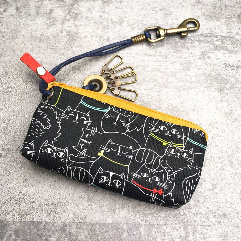 Zipper key case (night owl - goose yellow zipper) Japanese cloth order production*