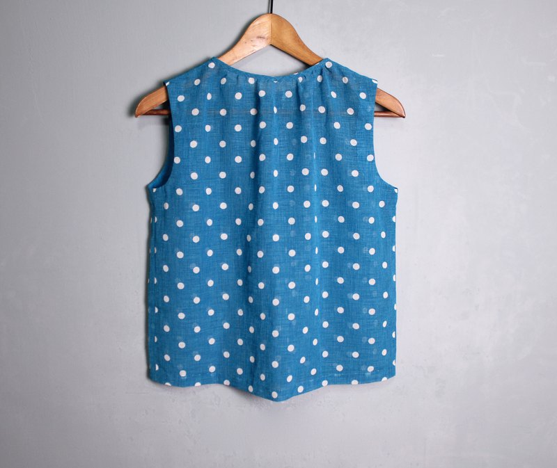 FOAK ancient sky blue dot hemp vest