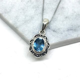 London Blue Topaz 925 Sterling Silver Elegant Lace Necklace Nepal Handmade Mosaic (Style 1)