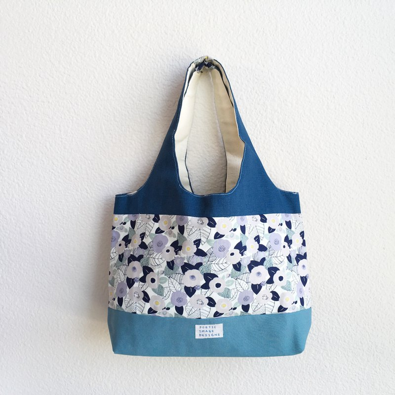 Light and melancholy bloom purple Prussian blue lake water blue tote portable shoulder Korean cloth