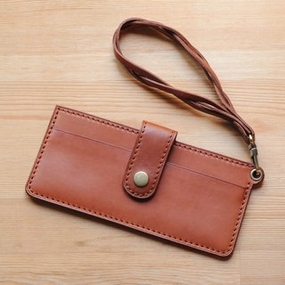 [DOZI leather hand-made] mobile phone sleeve with braided lanyard
