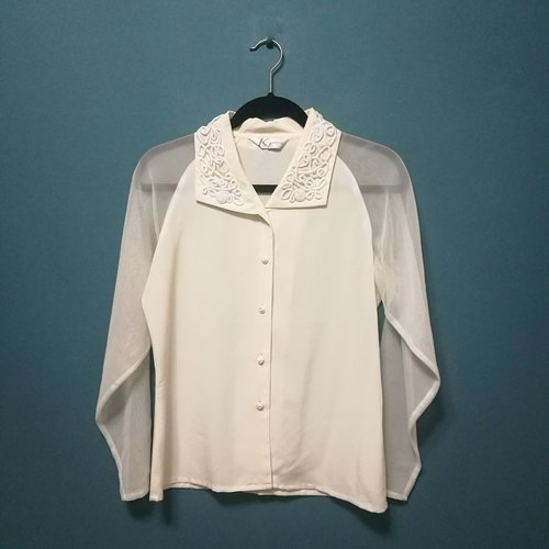 / Lin Dai Meng / Cream White Tulle Long Sleeve Shirt