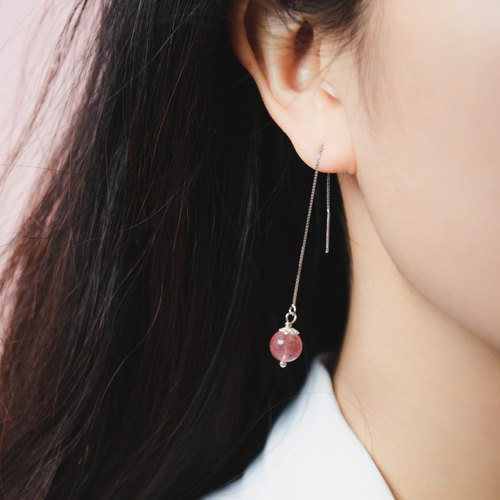 [Earrings Series] Strawberry Crystal 925 Sterling Silver Simple Earrings