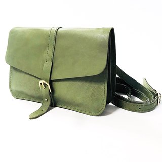 Olive green calf leather side backpack