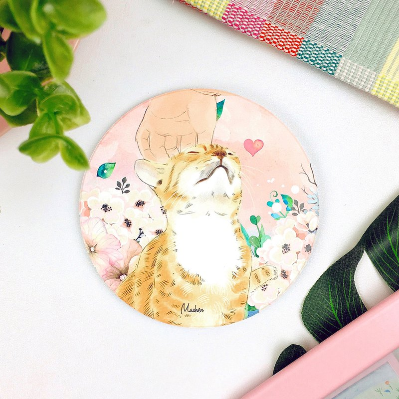 Healing cats and cats - round ceramic absorbent coasters / animal Shiba Inu. Christmas gifts