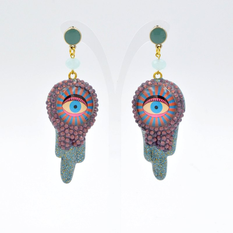 TIMBEE LO Swarovski crystal gold eye drop earrings ear clip