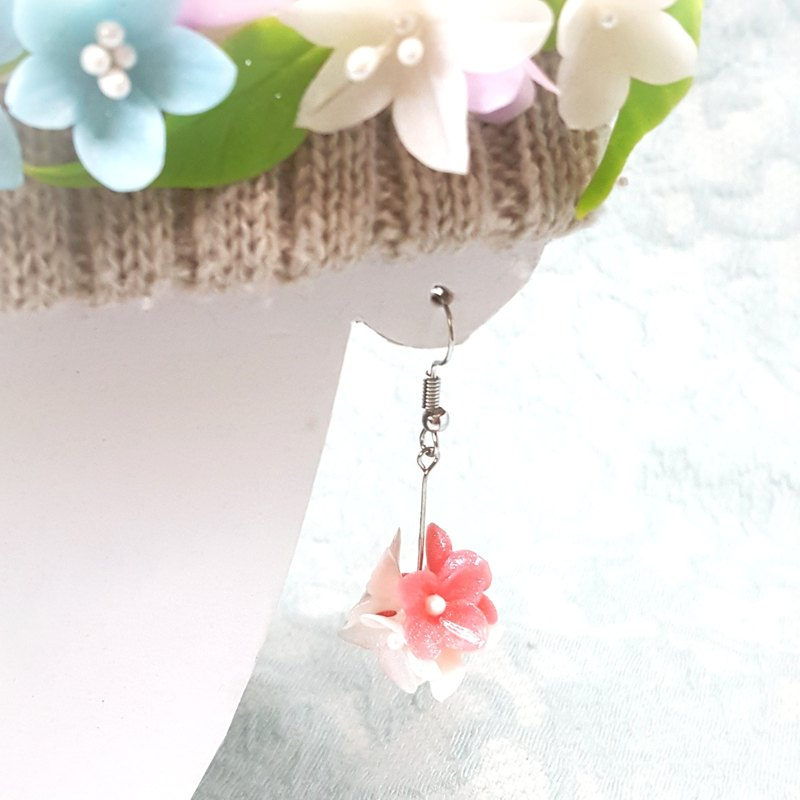 Cute double color flower ball earrings / ear hook / ear clip
