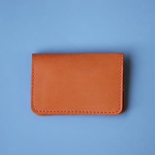 Double open leather business card holder / card holder / orange