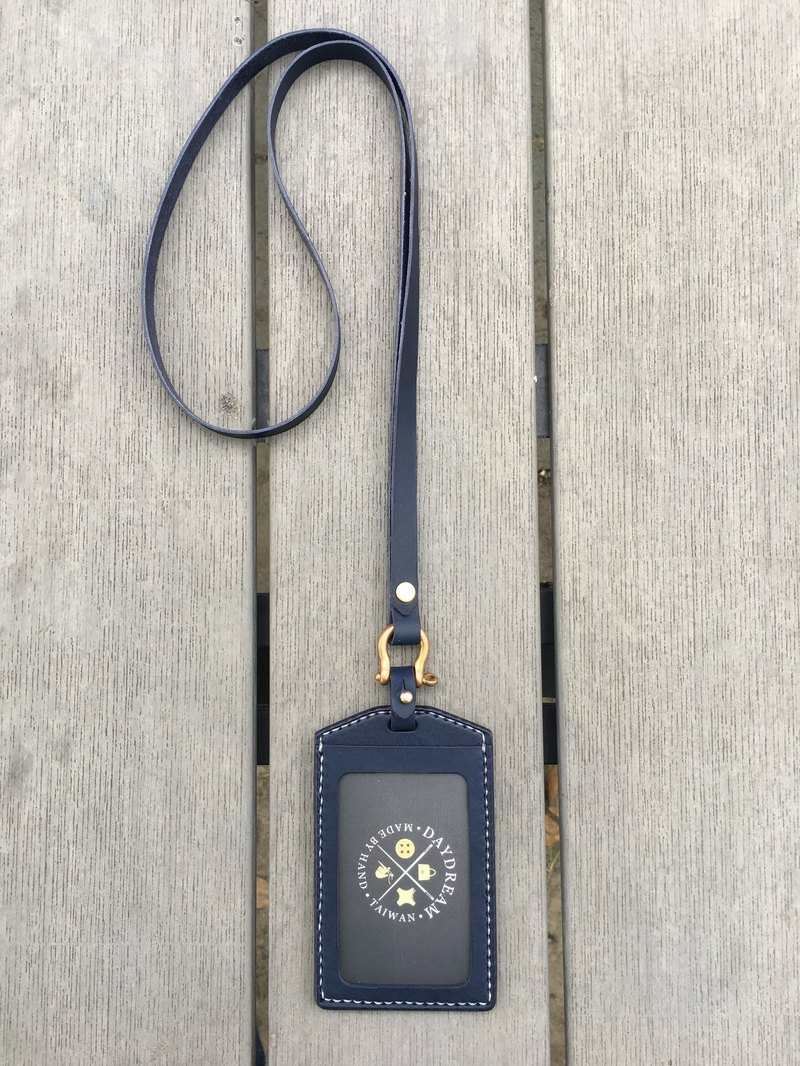 Handcrafted / vegetable tanner ID card holder / single-layer double-sided / straight / navy blue