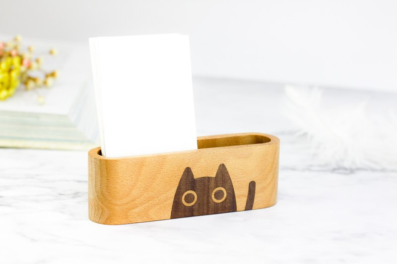 Cat Wood Inlay Business Card Holder, Business Card Display, Business Card Stand