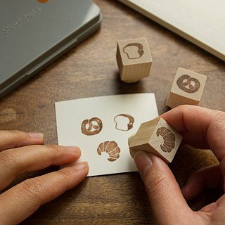 Hand carved rubber stamp bread combination stationery