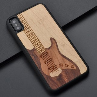 Guitar Wooden Case For Iphone X 8 7 6 Samsung Galaxy S7 S8 Plus Huawei P10 Cover