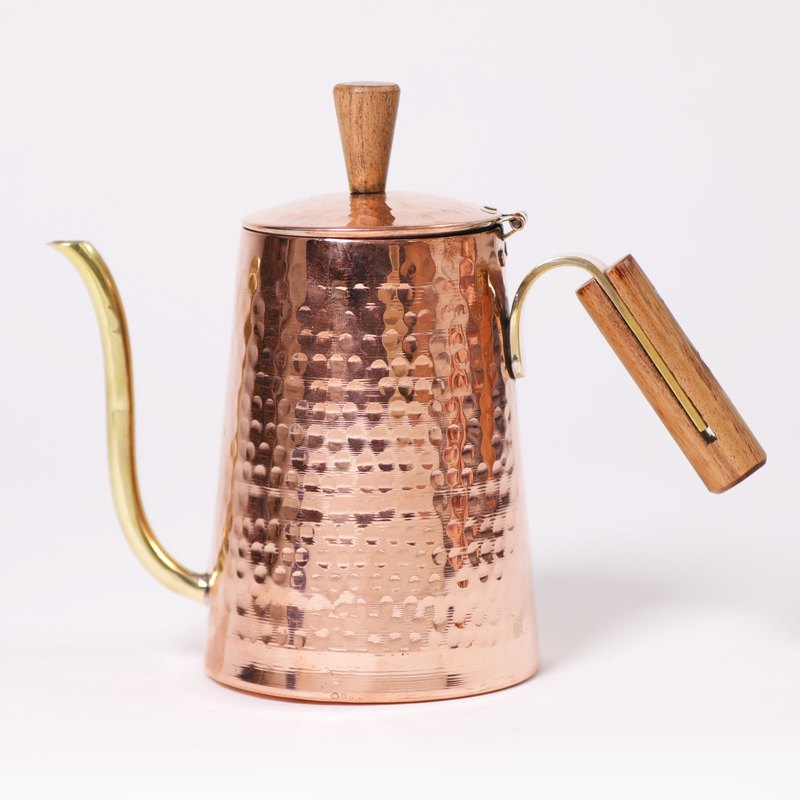 Wooden handle copper pot