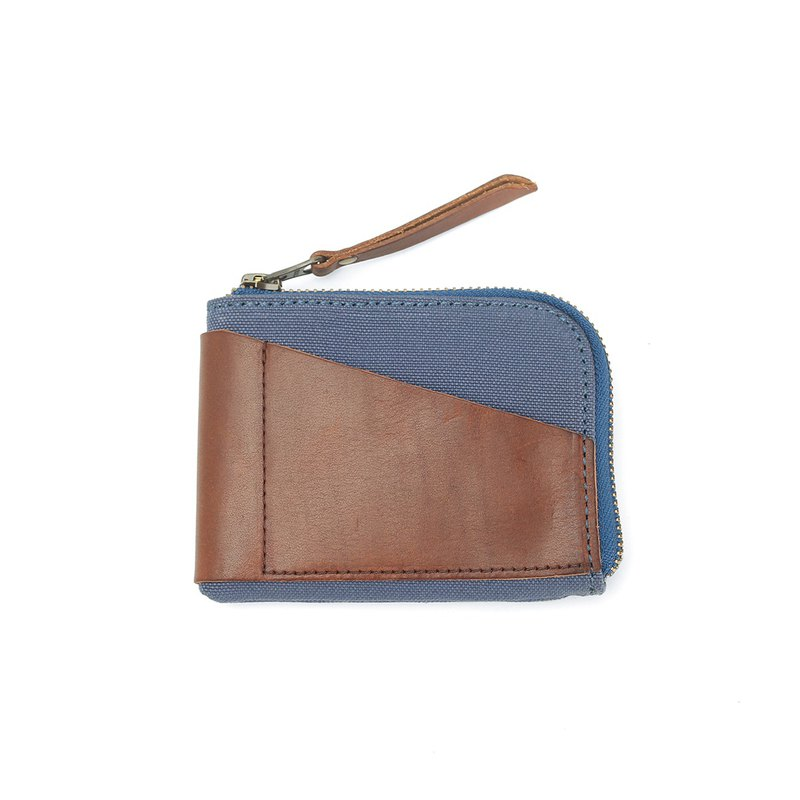 Simple handmade leather multi-purpose zipper change card pack blue