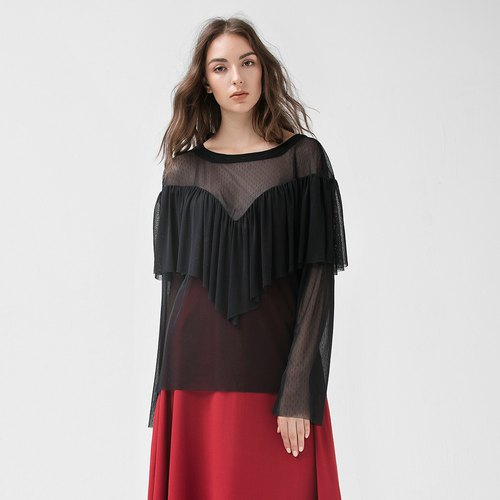 VACAE pleated detail skin long sleeve top