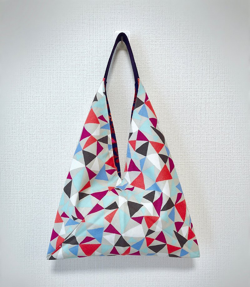 2019 spring color tote bag / Japan imported cloth / orange chaotic triangle
