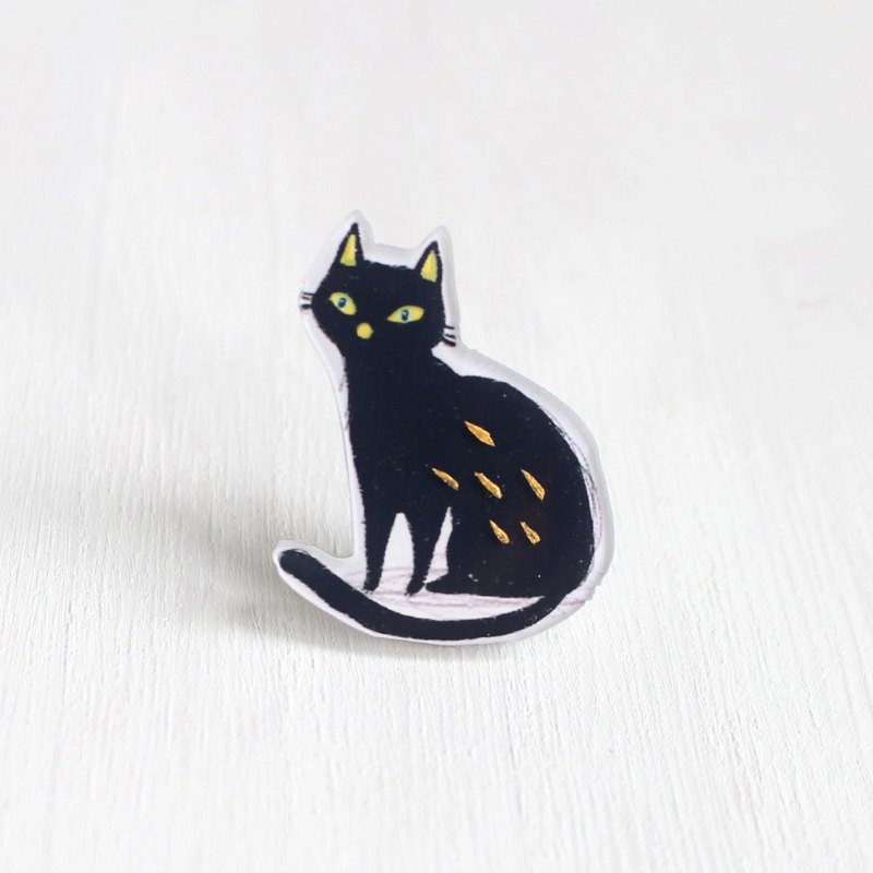 Quite Black Cat small badge / Brooch I Cat Lover