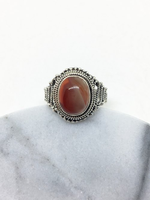 South red agate 925 sterling silver retro style ring Nepal handmade mosaic production