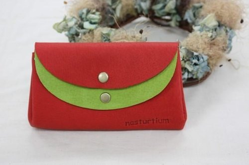 Small wallet red × yellow-green of pigskin