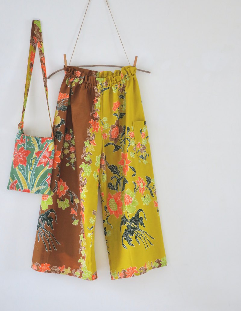 Wide Leg Pants and Mini Bag Indonesian Fabric