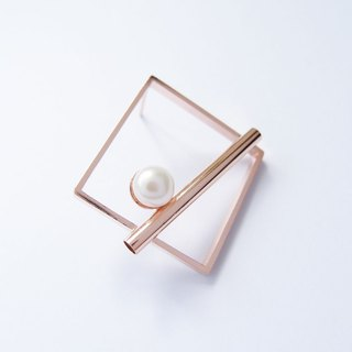 Geometric Landscape 3 Pearl Rose Metal Earrings