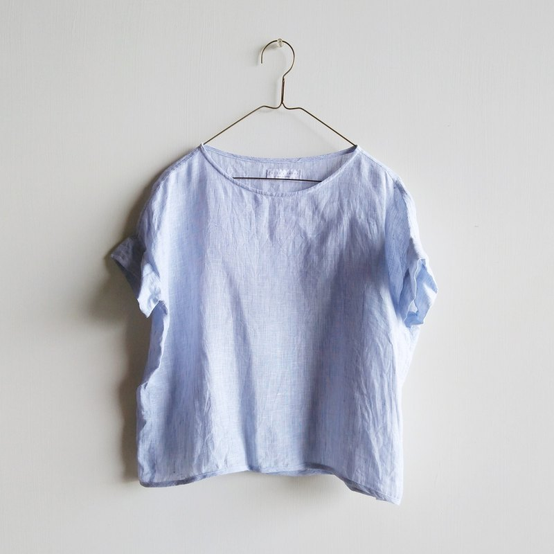 Short sleeve shirt linen blue and white mixed color