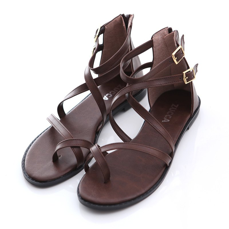 [ZUCCA] leather round toe flat sandals - brown - z6604ce