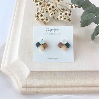tile earrings pink dark blue