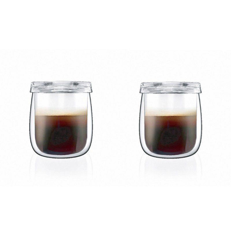 Special Set - TAMAGO double-wall glass cup mug with lid  ( 2 cup)