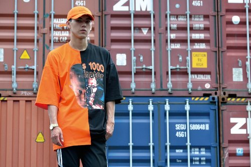HWPD │ T-1000 image - yin and yang double-handed drop shoulder five-point sleeve Tee black orange (see Kanye West / Yeezy / Justin Bieber)