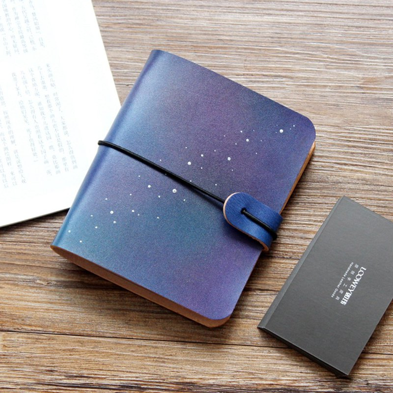 Starry 40 card vegetable tanned leather card holder / leather business card holder / ticket holder customization