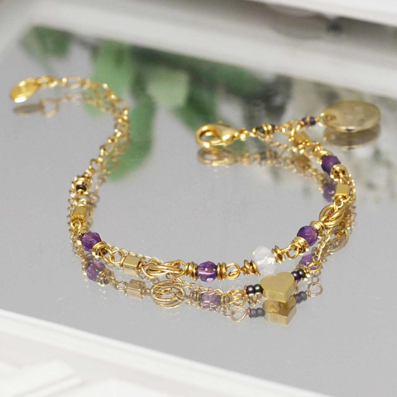 [Peace. Happy] Lucky Bracelet - Adult Edition Lucky Stone Amethyst Customized Gift Bag