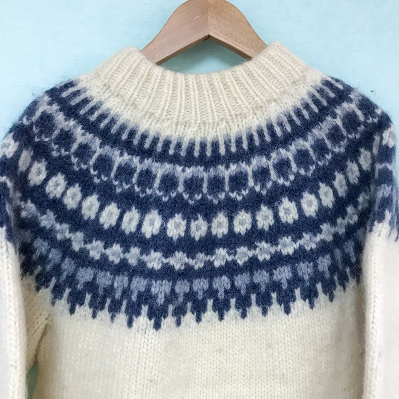 Sweater / Blue and White Scandinavian Style Sweater