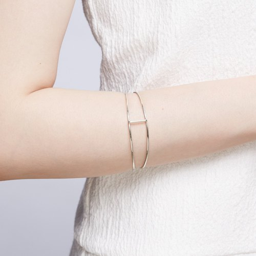Simple straight 925 sterling silver bracelet