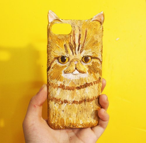 Flat face orange cat phone shell iphone6 ​​/ 7 / 6s common models