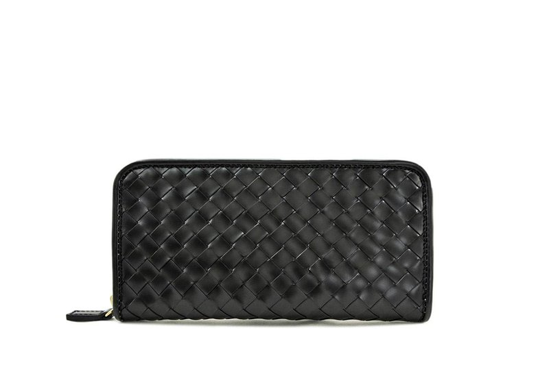 Cordovan Intrecciato Zip Around Wallet