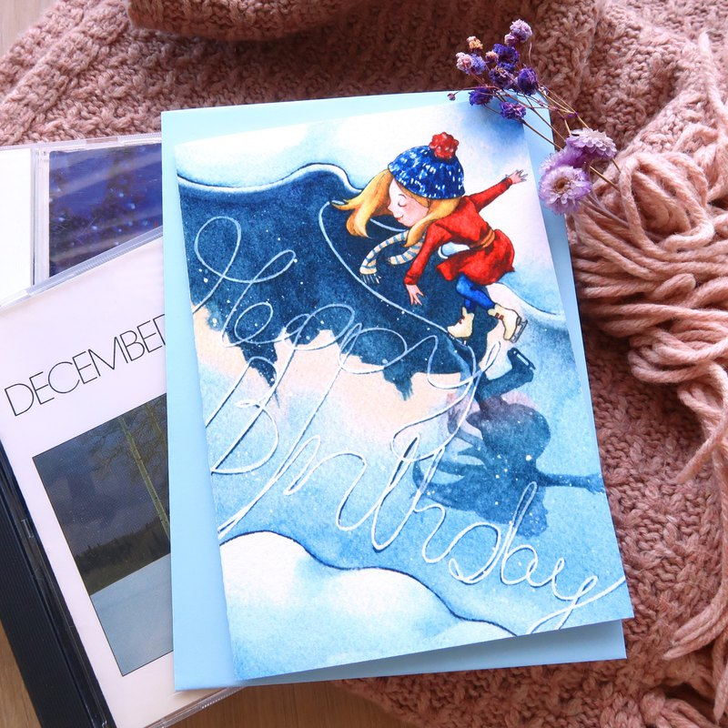 【Pin】Greeting on the Ice│Print│Birthday card with envelope at your choice