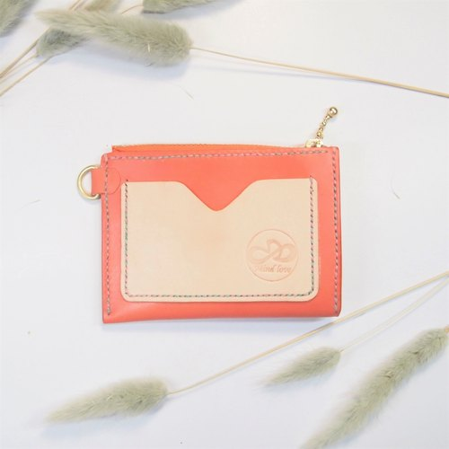 Leather coin purse zipper sweet orange