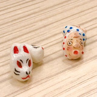 Japanese Fire Man Mask, Fox Mask Earrings - Sterling Silver Stud Earrings